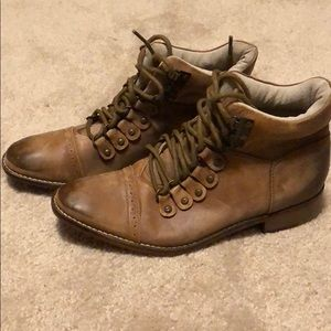 Free People Factory Distressed Lace Up Booties